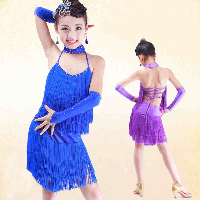 0166938c9aff Latin Dance Costumes For Children New Sexy Purple Color Latin Stage Competition  Dance Girls Classic Sumba Tassel Skirt
