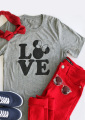 Women Ladies Fashion Plain Letter Printed Mickey Love Short Sleeves Soft Tops Tee Two Styles S/M/L/XL
