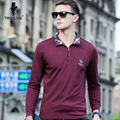 Troilus 2017 High Quality Long Sleeve Men's Polo Shirt Spring Autumn Cotton Solid Men Business Casual Zipper Design Polo Shirt