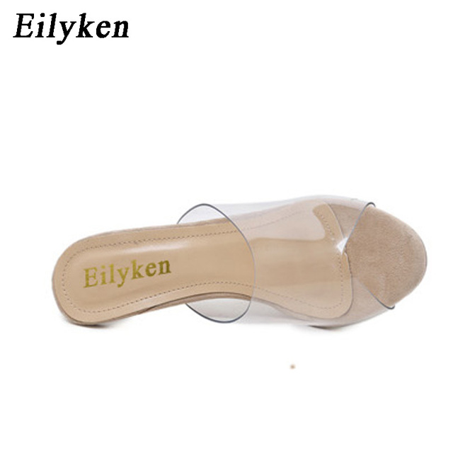 Eilyken 2018 New PVC Jelly Sandals Crystal Open Toed Sexy Thin Heels Crystal Women Transparent Heel Sandals Slippers Pumps
