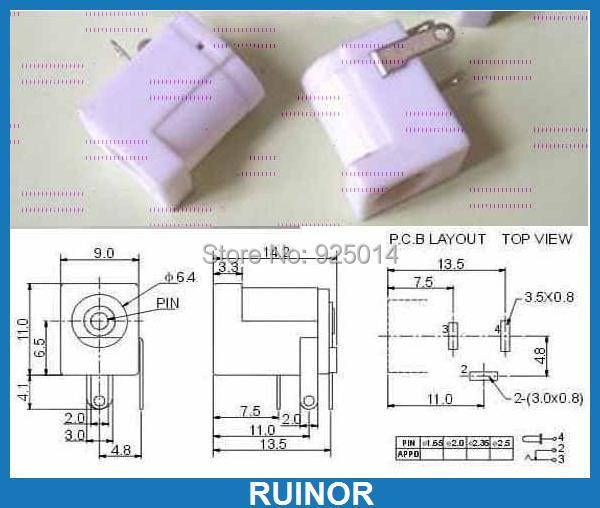 ФОТО 500 PCS White 3 pin 5.5mm x 2.0mm Power Charger Jack PORT PCB AC 2.1mm DC Socket