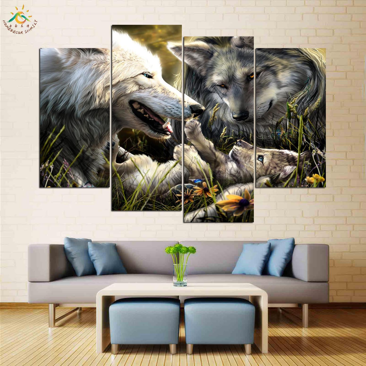 Wolves Family Birth Love Kid Picture And Poster Canvas Painting Modern Wall Art Print Pop Art Wall Pictures Home Decor 4 Pieces in Painting Calligraphy from Home Garden