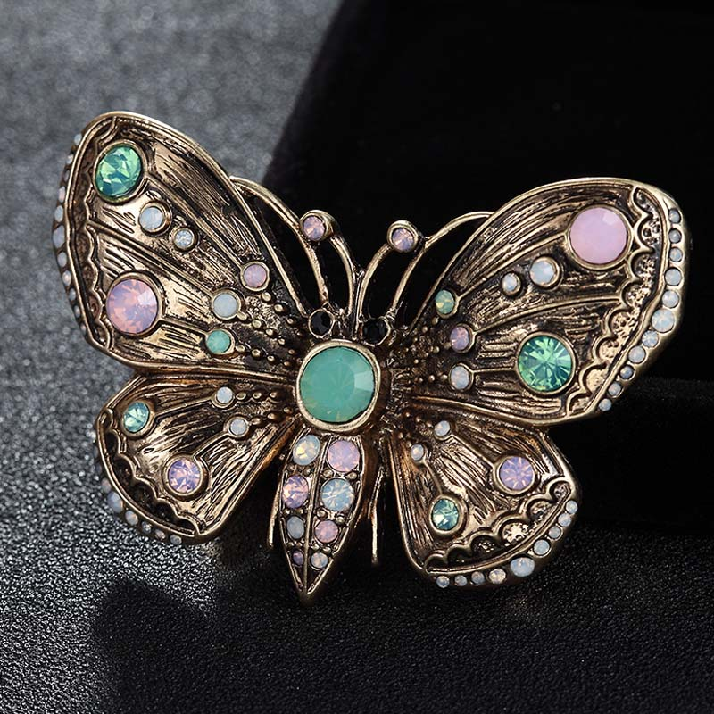 Luxury Brand Antique Gold Vintage Butterfly Brooches Jewelry For Women Men Blue Opal Men's Brooch Pin Hijab Accessory For Hats free shipping 2017 new dot turban hats hijab caps for women ladies