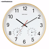 Homingdeco Multi Function Simple Wall Clocks Wooden Digital Design Slient Hanging Clocks With Temperature And Humidity