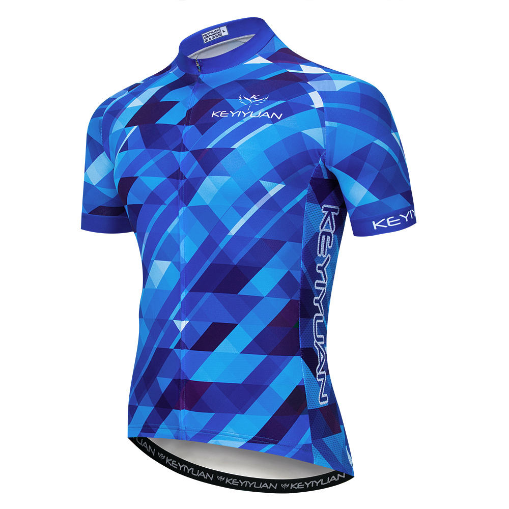 2019 Keyiyuan Spring Summer Blue Plaid Quick drying Breathable Road Cycling Bicycle Equipment Short Sleeve Top