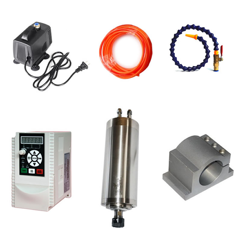 DIY CNC Part Kit 80mm CNC Water Cooled Spindle Motor Clamp 800W 1.5KW Frequency Converter VFD Inverter 2.2KW 1.5KW 1set water cooled spindle motor 1 5kw with a vfd as a set for cnc