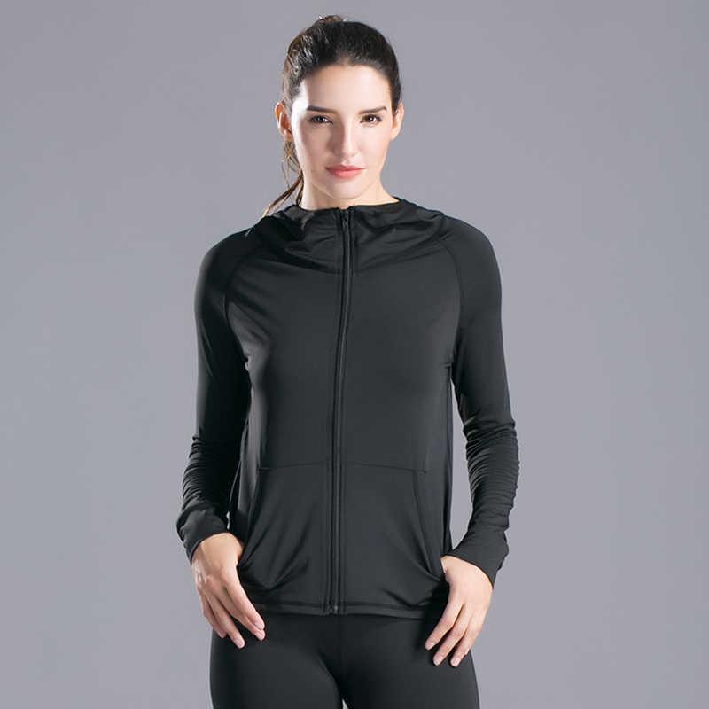レディースフード付きジャケットスポーツコート圧縮フィットネスパーカージム Rashgard 包括的なトレーニングセータージャケットジョギング実行している