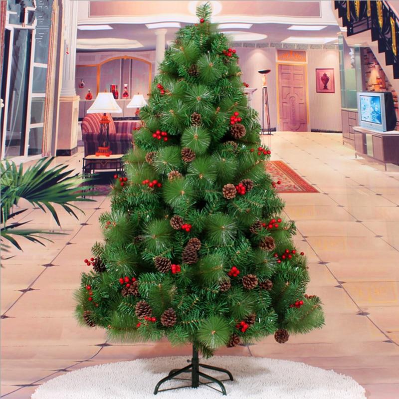 Aiguilles de pin mixte 1.5 m/150 CM fruits rouges pomme de pin De Noël arbre qualité de haute qualité cryptage De Noël décorations