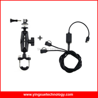 Motorcycle Handlebar Rail Mount with 1 inch Rubber Ball and Dual USB Port 12 24V 2.4A USB Charger for Gopro