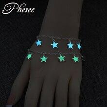 Phesee 2 Colors Luminous Star Pendant Bracelets For Women New Pretty Statement Bracelet Bangles pulseira feminina Party Jewelry