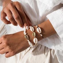 2019 Fashion Shell Hand Knit Bracelet 3pcs Natural Seashell Beaded Strand Adjust