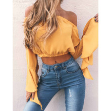 High Street Fashion Women's Sexy Off Shoulder Crop Tops Long Ruffle Sleeve Slash Neck Costume Solid Summer Loose Shirts Blouse