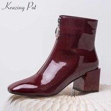10a8598b8b Krazing Pot patente couro genuíno praça toe rodada fivela zíper ankle boots  de mulheres elegantes senhora modelo de passarela st.
