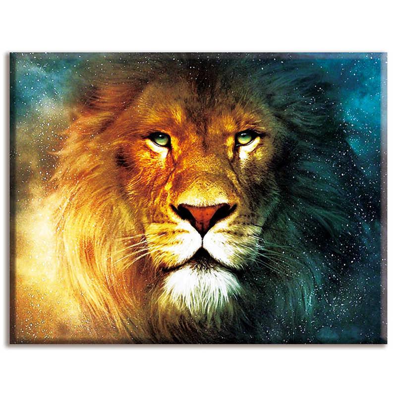 Diy, Handwerken, Kits, Sets Voor Volledige Borduurwerk, Home Decor, 40X50 Cm, leeuw, Dieren, Katoenen Draad, Wit Canvas, Dmc, Kruissteek