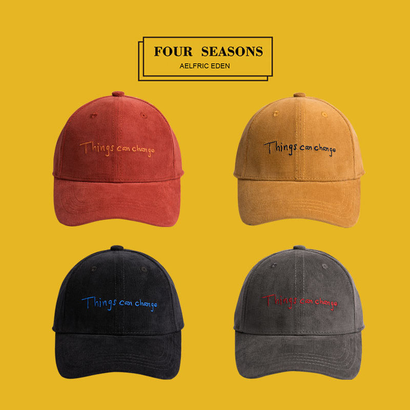 Aelfric Eden 2018 Winter Warm Corduroy Baseball Caps Adult Adjustable Hats Snapback Casual Letter Embroidery Hip Hop Hat TF04