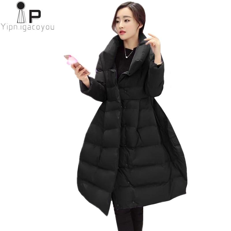 Winter Parka Coat Women Fashion Black Womens Down Jacket Long Thicken Warm Jacket Korean Slim Plus