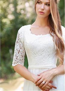 Image 3 - Классическое с круглым вырезом Дешевое кружевное свадебное платье шифоновая юбка Дизайн Половина рукава на заказ молния сзади Свадебные платья 2019 Горячие