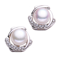 Konduki Colorful Natural Freshwater 8mm Pearls 925 Sterling Silver Stud Earring Jewelry For Women Oblate Stud