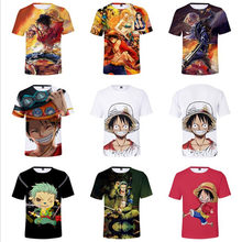 One Piece Luffy Ace Sabo Law Zoro and Nami Design Harajuku casual T-shirts Unisex 3d print anime cartoon camiseta one piece(China)