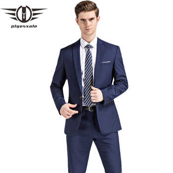 Plyesxale Men Suits 2018 Latest Coat Pant Designs Wedding Suits For Men Brand Clothing Slim Fit Black Blue Mens Formal Suit Q91 - DISCOUNT ITEM  39% OFF All Category