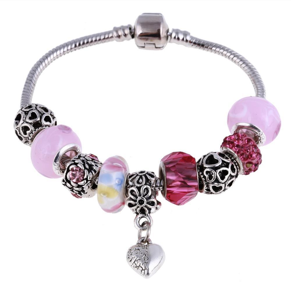 Pink Crystal Charm Silver Bracelets & Bangles for Women  Beads Silver Bracelet Femme Jewelry 20