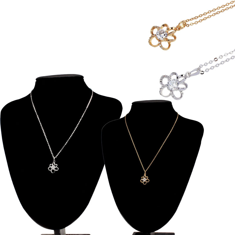 Bling-World New Fashion Women Personality Graceful Filled Flower Plating Chain Pendant Necklace Delicate Jewelry Gift Oct12