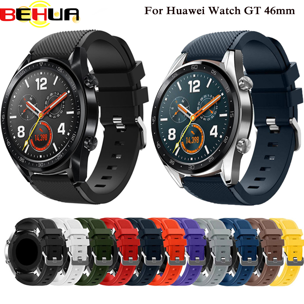 18 Colors Rubber Wrist Strap For Huawei Watch GT Silicone Watch Bands 22 Mm Honor Watch Magic Sport Replacement Bracelet Band