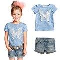 Menoea hot 2017 nova casual dress céu azul dos desenhos animados t-shirt + calças de brim conjuntos de roupas meninas crianças roupas roupas das meninas