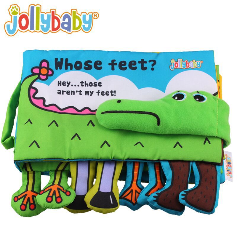 Jollybaby Whose Feet Crocodile Baby Cloth Book With Rattles 3D Unfolding Activity Animal Book Infant Kids Early Development Toy