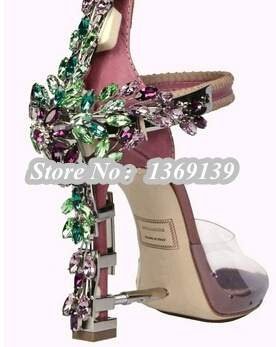 e3e44c5100 US $154.0 |Top Original Impera Rihanna's thick heel swarovski crystal gold  padlock women sandals gladiator high heel sandals shoes woman-in Women's ...