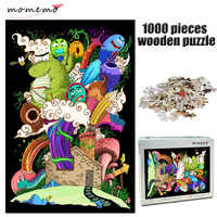 MOMEMO Lovely Monster Family Jigsaw Puzzle Cartoon 1000 Pieces Wooden Adult Decompression Puzzle for Children Educational Toys