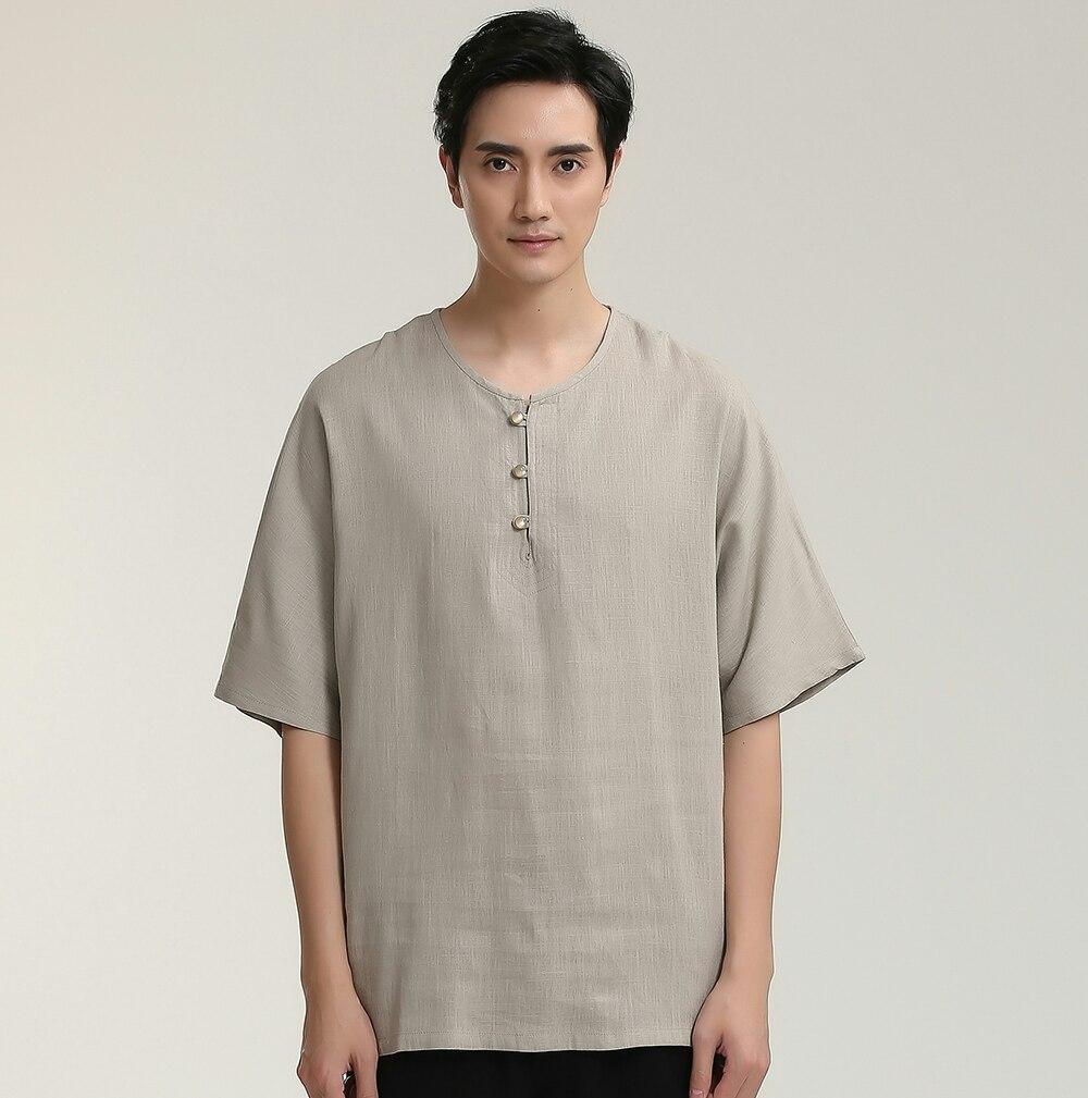 High Quality Chinese Kung Fu Solid Khaki Mandarin Collar Man Short SleeveTai Chi Dress Shirts Cotton Linen Clothing M-3XXL 2714