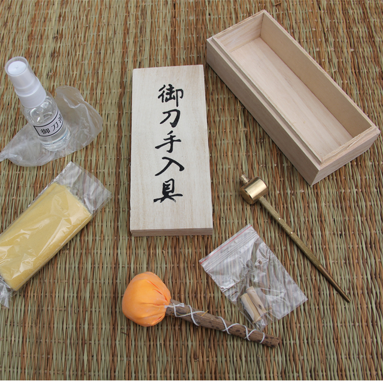 Japanese Samurai Katana Sword Maintenance Cleaning Kit 5 Tools  With Storage Wooden Case Brand New Supply WITHOUT OIL