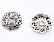 DoreenBeads 100 Silver Tone Flower Bead End Caps 12×2.5mm Findings (B08429), yiwu