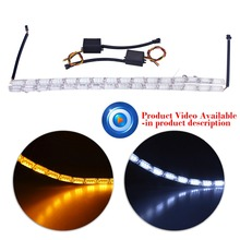 2 PCS 16SMD LED Knight Rider Strip LED Daytime Corsa e Jogging Luce Indicatore di Direzione Ambra Giallo Costante di Cristallo Bar DRL lampada