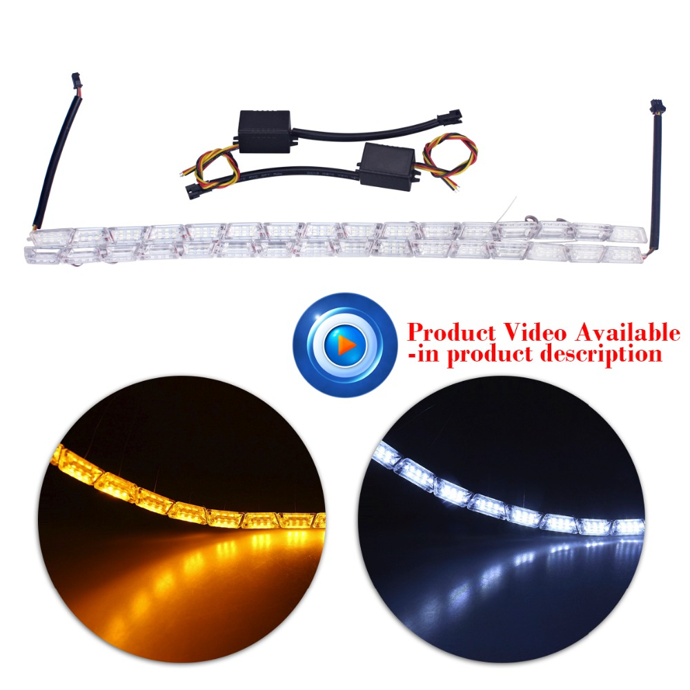 2xCar Styling16LED Knight Rider Strip LED Daytime Running Light Turn Signal LightS Flowing Yellow Steady Crystal Bar DRL Lamp