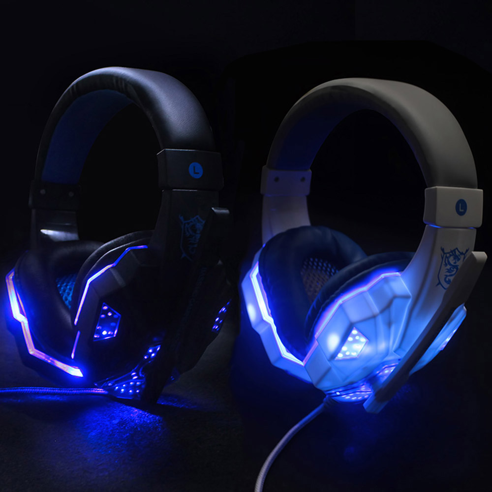 PS830 PS4 Headset Bass Gaming Headphones Game Earphones Casque with Mic Led Light for PS4 PC Mobile Phone New Xbox One Tablet kotion each b3506 foldable wireless bluetooth headphones gaming casque hifi bass stereo headset with mic for phone ps4 tablet pc
