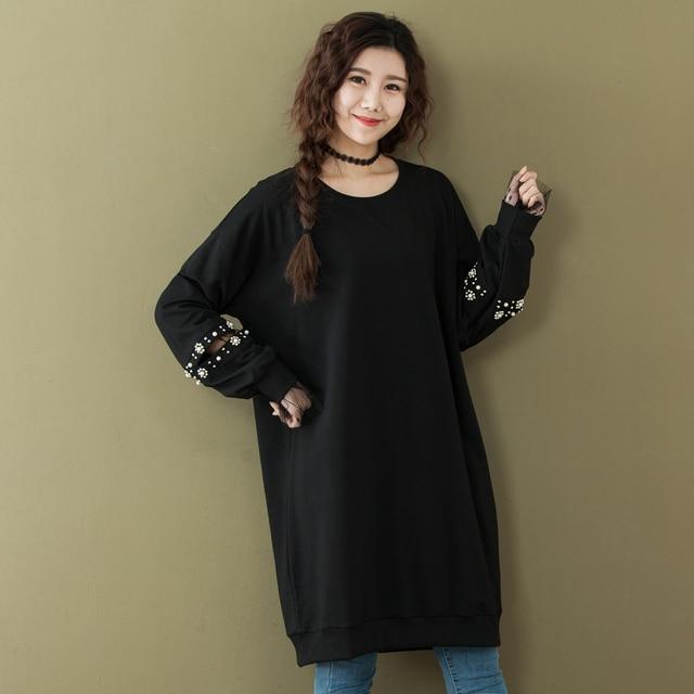 Spring Oversized Hole Mesh Splicing Long Sleeve Women T Shirt Dress 2018  Korean Fashion Loose Lace cf2b8160c6d6