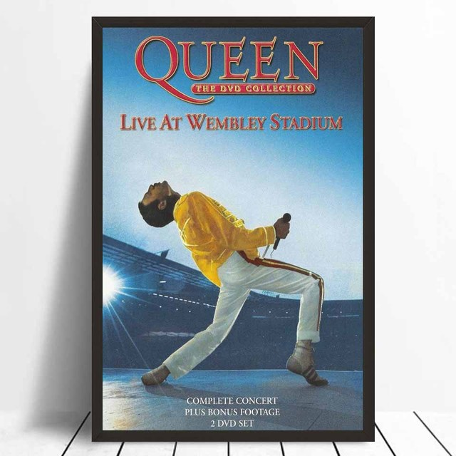 US $5 38 7% OFF|FX410 Wembley 1986 Queen Live Pop Album Freddie Mercury  Classic Cover Vintage Poster Art Silk Canvas Home Room Wall Print Decor-in