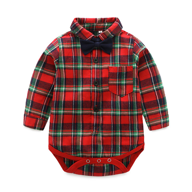 2018 Summer baby boys long sleeve rompers fashion childrens casual clothes cute infant cotton jumpers gentleman outwear 18M01