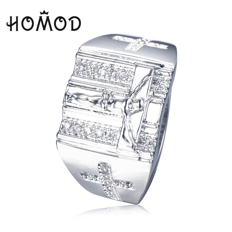 HOMOD Fashion silver plated Rings Jesus Cross carved for Men Anillos White Cubic Zirconia Wedding Finger Ring Fine Jewelry Bague