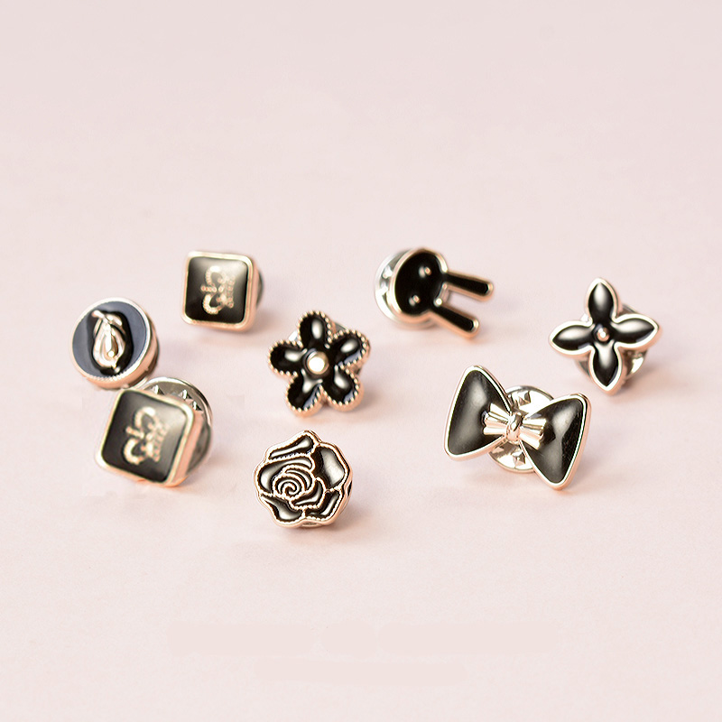 10Pcs/Set Mix Design Cute Pearl Flower Crystal Brooch Mini <font><b>Pins</b></font> <font><b>Buttons</b></font> Suit Sweater Shirt Denim Badge Lapel <font><b>Pin</b></font> Collar Jewelry image