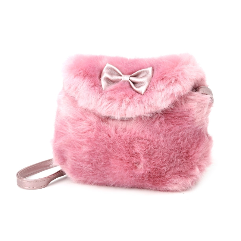 New Lovely Baby Girl Faux Fur Bow knot font b Kids b font font b Crossbody