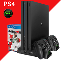 PS4 Slim Pro 3 in 1 Multifunctional Vertical Cooling Charging Stand Play Station 4 Games Bracket Joystick Charger Dock for PS4