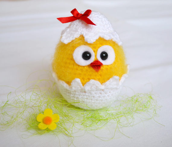 Chicks In Eggshell Easter Crochet Rattle