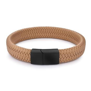 Braided Leather Men's Bracelet with Magnetic Stainless Steel Clasp Bracelets Hot Promotions Jewelry Men Jewelry New Arrivals Metal Color: Khaki 2 Length: 18.5cm