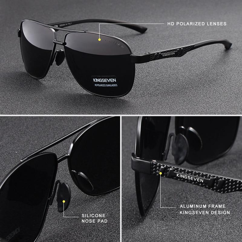 KINGSEVEN 2020 Brand Men Aluminum Sunglasses Polarized UV400 Mirror Male Sun Glasses Women For Men Oculos de sol 2