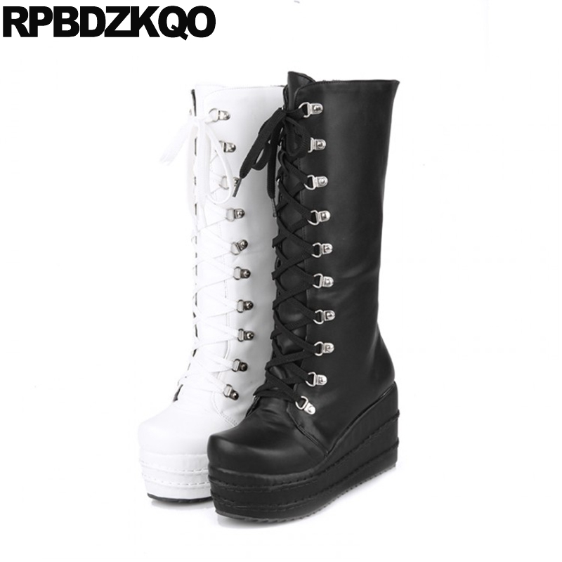 02da288886e Ladies Long Waterproof Wedge Shoes Lace Up Big Size Gothic Platform Boots  Punk High Heel Mid Calf Women 10 43 Slim White Muffin
