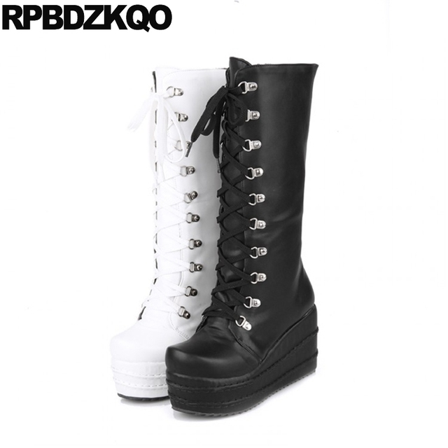 Ladies Long Waterproof Wedge Shoes Lace Up Big Size Gothic Platform Boots  Punk High Heel Mid Calf Women 10 43 Slim White Muffin 2edecdcb3db5
