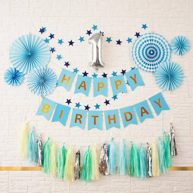 1st Boy Happy Birthday Party DIY Decoration Kids Blue Baby
